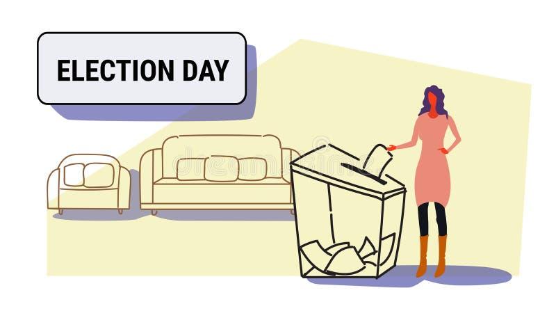 Dzień wyborów pojęcia bizneswomanu wyborca stawia papierowego tajnego głosowania listę w pudełku podczas głosować przypadkowej ko royalty ilustracja