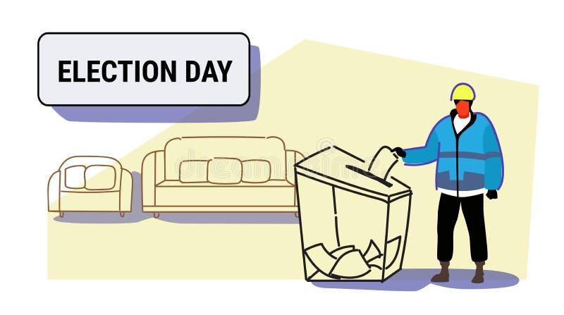 Dzień wyborów pojęcia pracownik budowlany w jednolitym mężczyzny wyborcy stawia papierowego tajnego głosowania listę w pudełku po ilustracji
