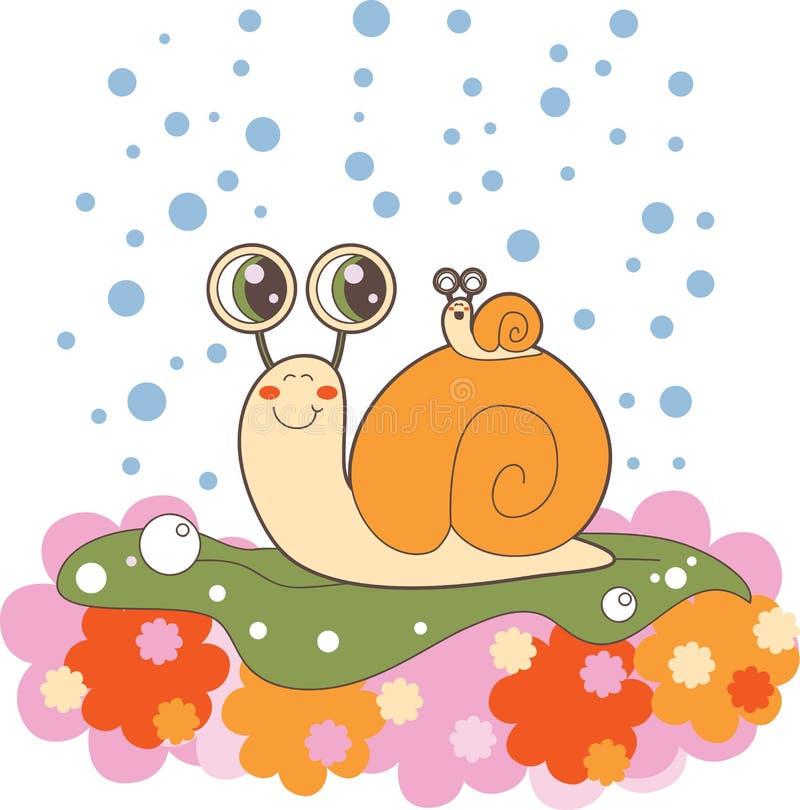 dzień ślimaczek rodzinny dżdżysty ilustracji
