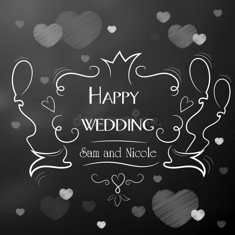 Dzień ślub szczęśliwych nowożeńców Rama z inskrypcją zdjęcia stock