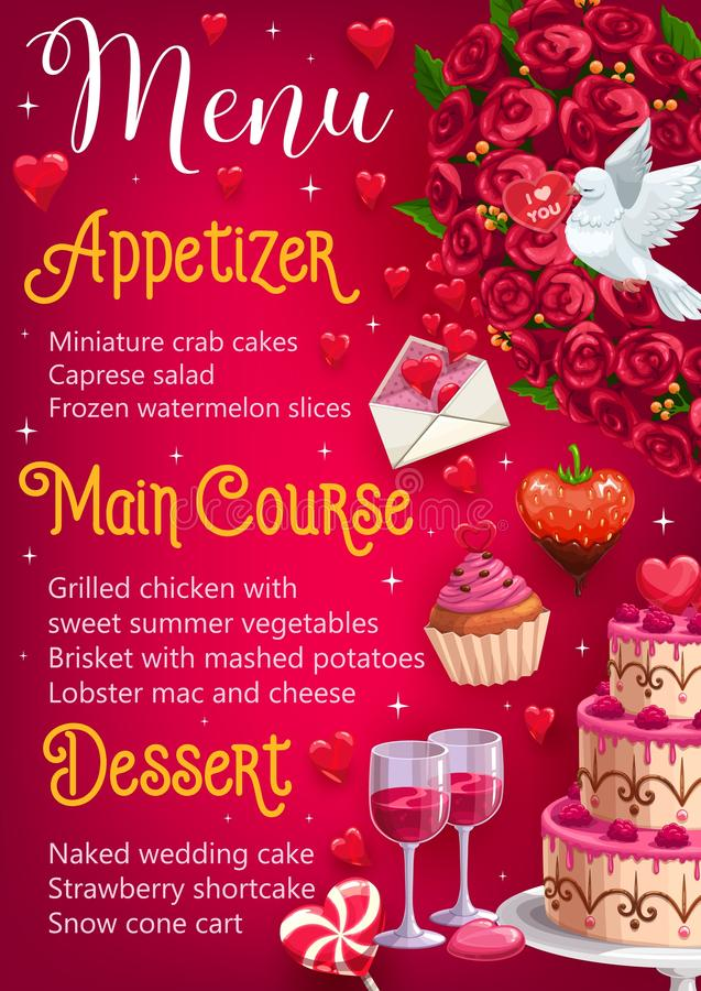 Dzień ślubu menu Główni kursy, deser zakąska royalty ilustracja