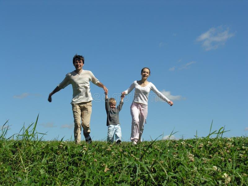 dzień 2 sunny biegacza rodzinę. zdjęcia royalty free