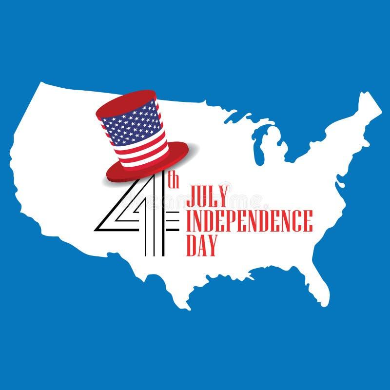 dzień amerykańska niezależność konturowej mapy kontur twierdzić usa united państwa bandery wektor royalty ilustracja