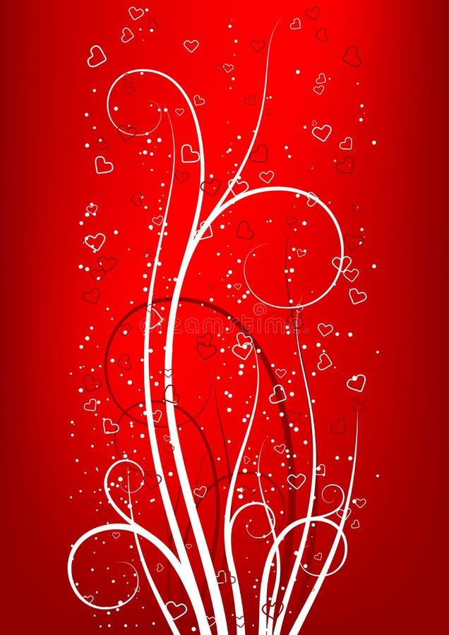 dzień backgroun pozdrowienia karty czerwono s zwoje serce walentynki ilustracji
