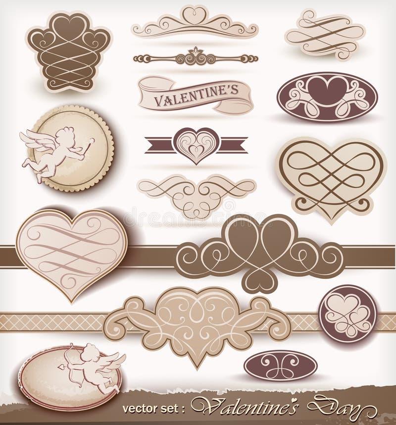 dzień dekoracyjny elementów s valentine royalty ilustracja