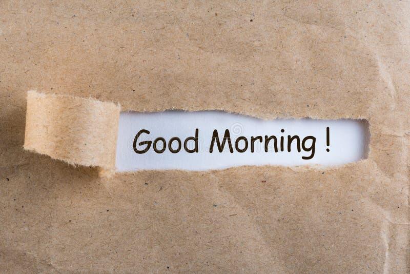 Dzień dobry życzy w poszarpanej kopercie zdjęcie royalty free
