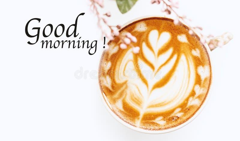 Dzień dobry i gorąca kawa obraz royalty free