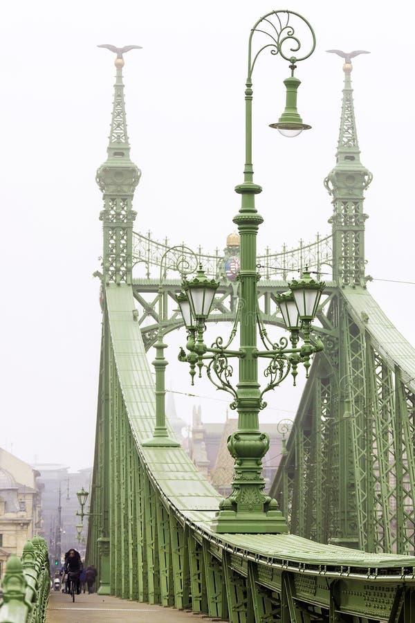 dzień dobry mgła Wolność most w Budapest, Węgry obrazy stock