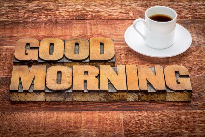 Dzień dobry typografia z kawą fotografia royalty free