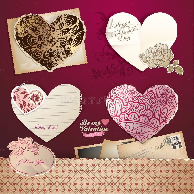 dzień elementów serc valentines royalty ilustracja