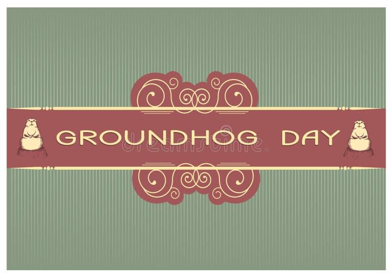 dzień groundhog pocztówka ilustracja wektor