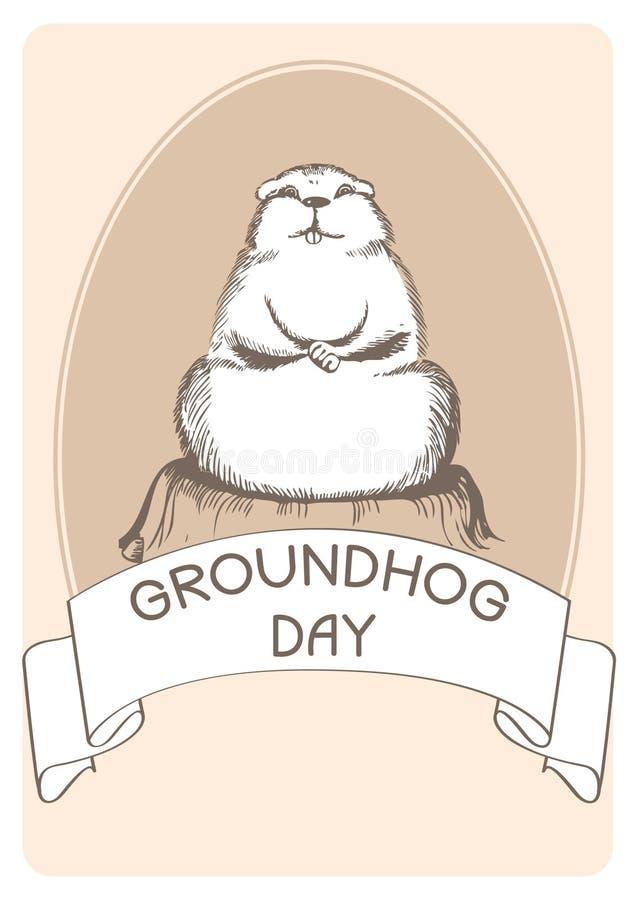 dzień groundhog pocztówka royalty ilustracja