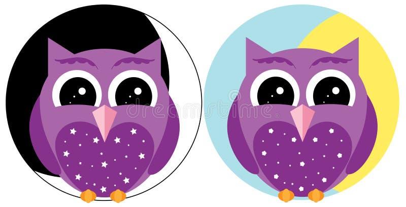 Dzień i noc fioletowej sowy royalty ilustracja
