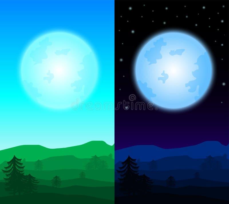 Dzień i noc krajobrazowy tło; różny czasu krajobrazu b ilustracji