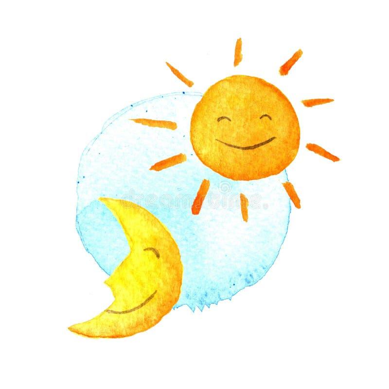 Dzień i noc, słońce, księżyc akwareli ikona Śliczny ono uśmiecha się, połówka Ręka malująca ilustracja ilustracja wektor