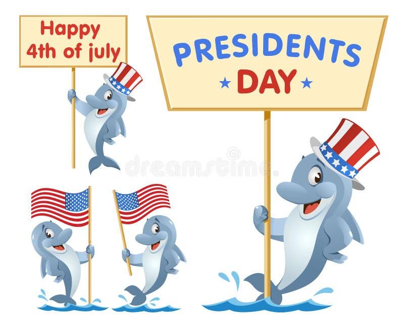 dzień ikon prezydent ustawiający 4 Lipca Śmieszny delfin trzyma flagę amerykańską ilustracja wektor
