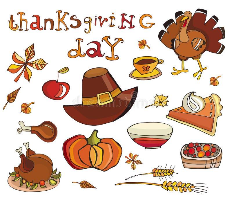 dzień ikony ustalony dziękczynienie ilustracja wektor