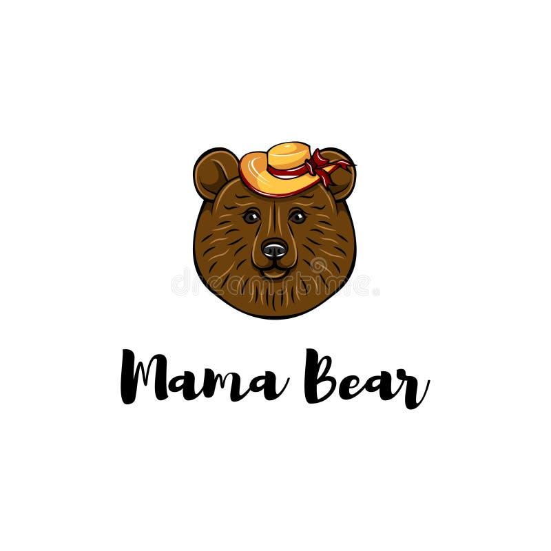 dzień karciana matka s Mama niedźwiedź Być wypełnionym czymś kapelusz słodkie zwierzę wektor ilustracja wektor