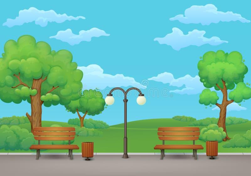 dzień krajobrazu parka lato Ławki, kubły na śmieci i latarnia uliczna, royalty ilustracja