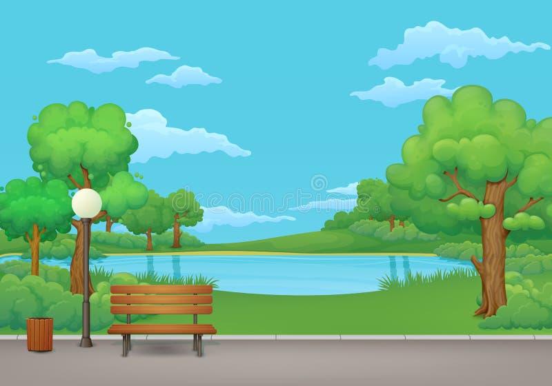 dzień krajobrazu parka lato Zielona łąka, drzewa i jezioro na tle, ilustracji