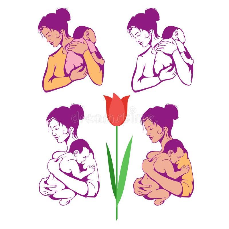 dzień kwiat daje mum syna matkom Ręka rysująca matka z dzieckiem Literowania fo matek dzień ilustracja wektor