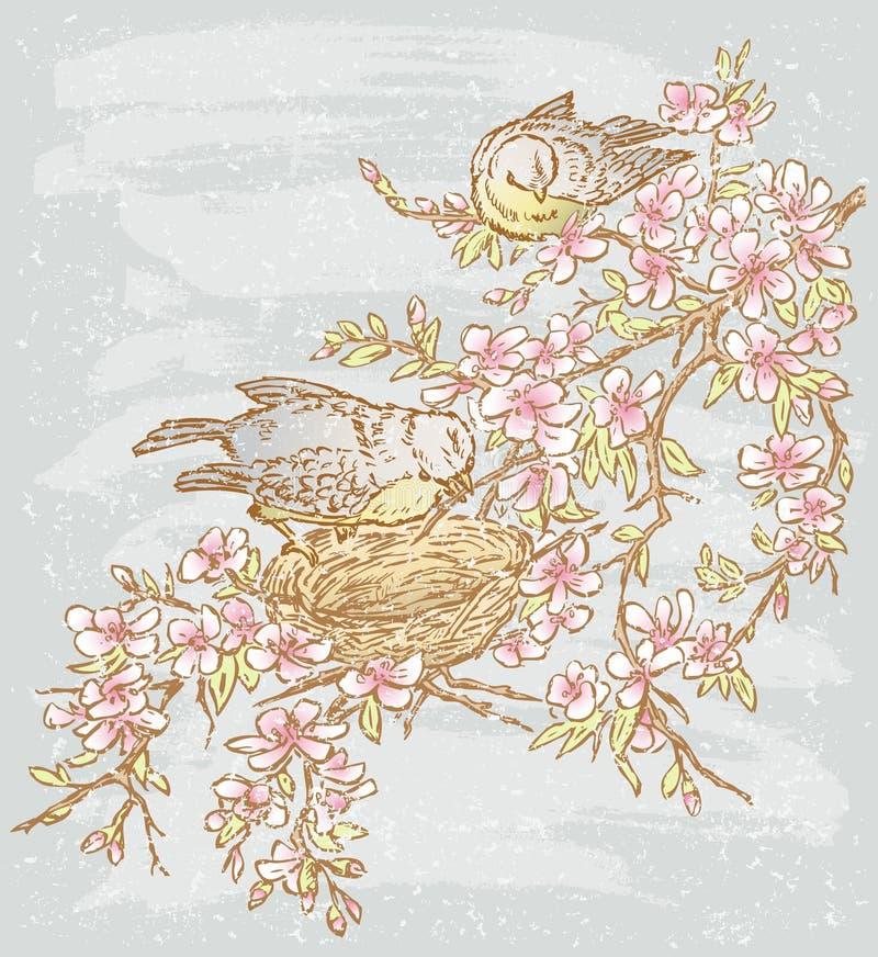 dzień lasowej wiosna podmiejski spacer ilustracja wektor