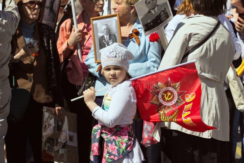 dzień Moscow zwycięstwo Nieśmiertelny pułk na Moskwa ulicie Tysiące marsz pamiętać wojnę światowa 2 zdjęcie royalty free