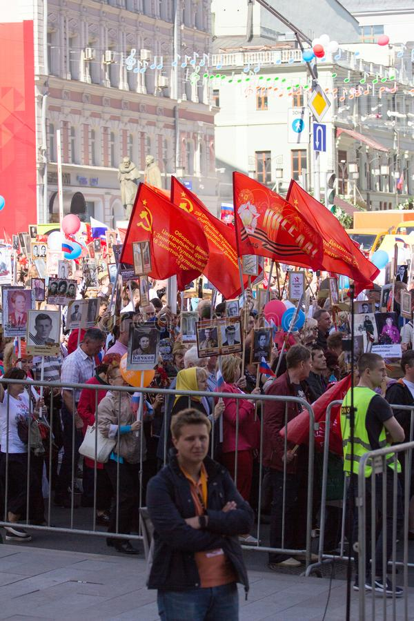 dzień Moscow zwycięstwo Nieśmiertelny pułk na Moskwa ulicie Tysiące marsz pamiętać wojny światowa 2 krewnych fotografia stock