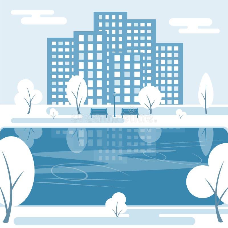 dzień mrozowa Styczeń natury parka śnieżna drzew zima ilustracja wektor