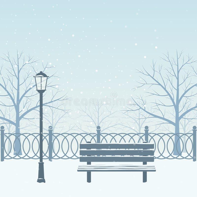 dzień mrozowa Styczeń natury parka śnieżna drzew zima ilustracji