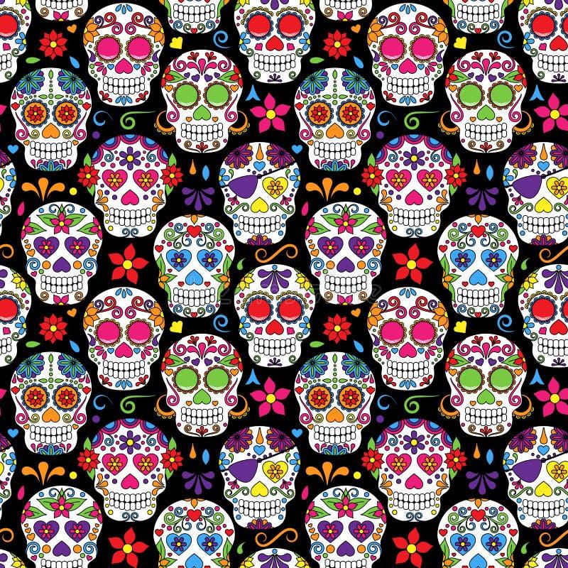 Dzień Nieżywej Cukrowej czaszki Bezszwowy Wektorowy tło ilustracji