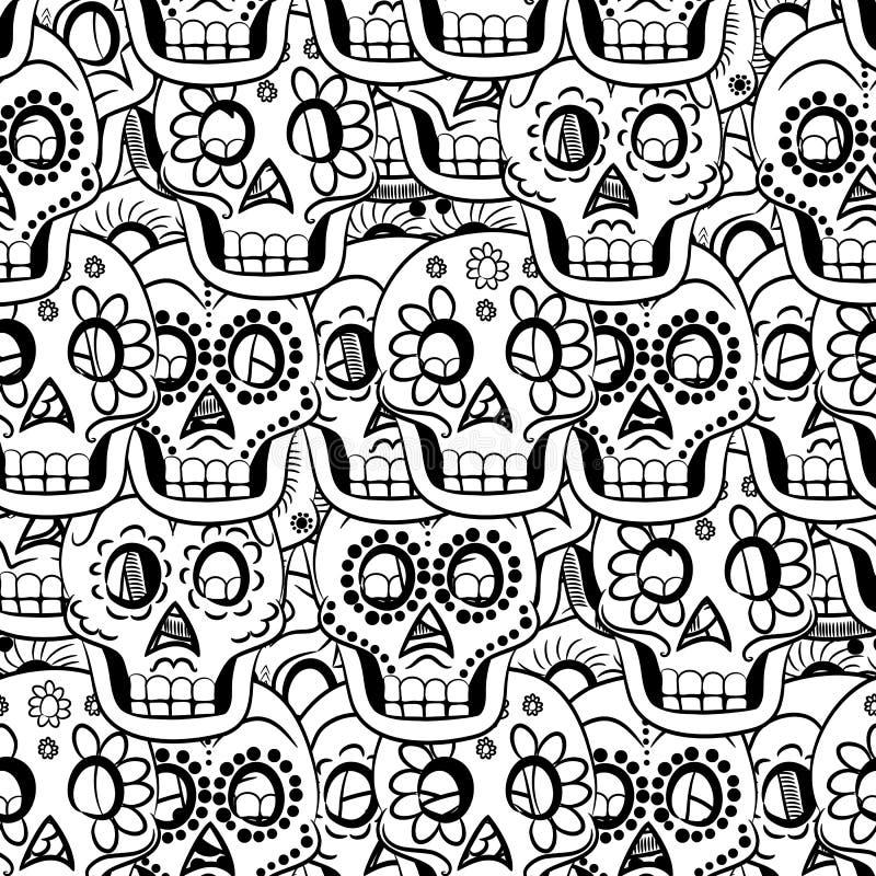 Dzień Nieżywej Cukrowej czaszki Bezszwowy Wektorowy tło ilustracja wektor