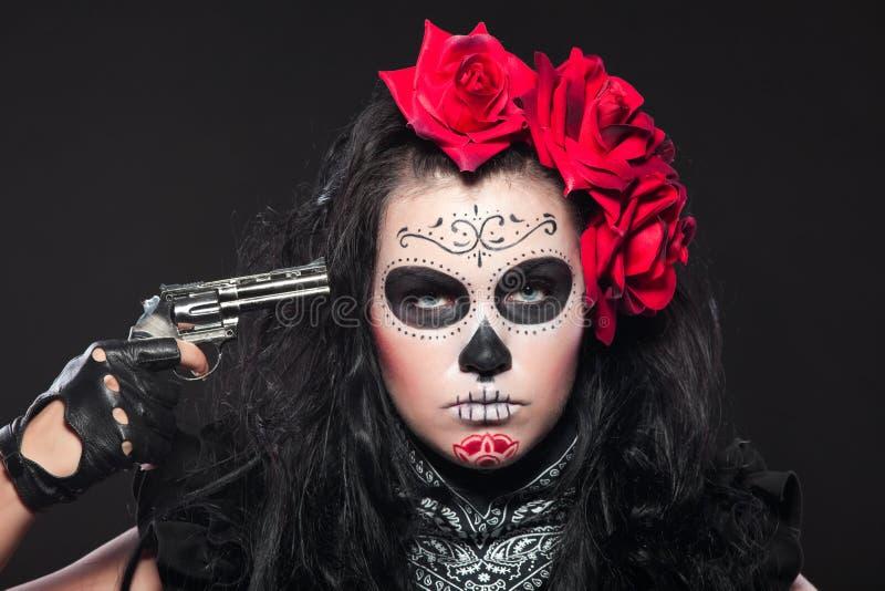 dzień nieżywi dziewczyny pistoletu maski potomstwa zdjęcia royalty free