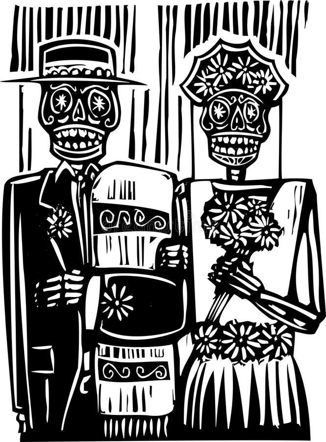 Dzień Nieżywy ślub ilustracja wektor