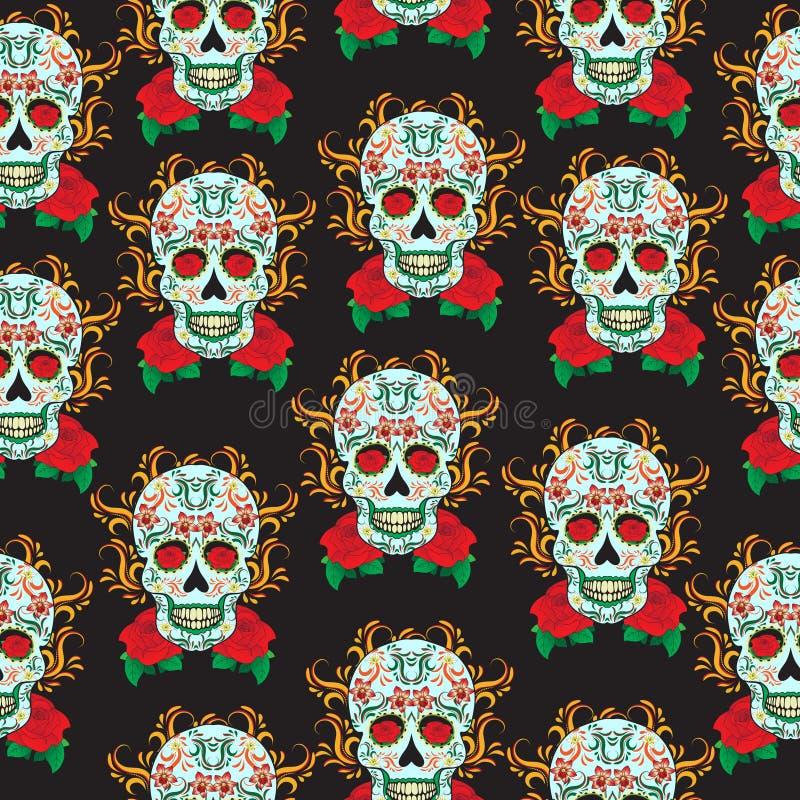 Dzień Nieżywy świętowanie, festiwal w Meksyk Cukrowej czaszki bezszwowy wzór, zredukowany tło, tekstura, tapeta ilustracja wektor