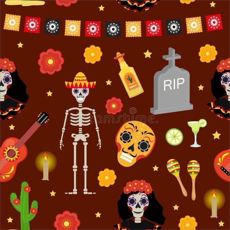 Dzień nieżywy wakacje w Meksyk bezszwowym wzorze z cukrowymi czaszkami ilustracji