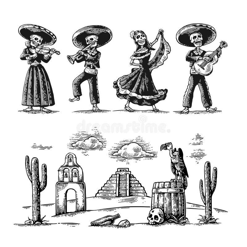 Dzień nieboszczyk, Dia De Los Muertos Kościec w Meksykańskich krajowych kostiumach tanczy, śpiewa i bawić się gitarę royalty ilustracja