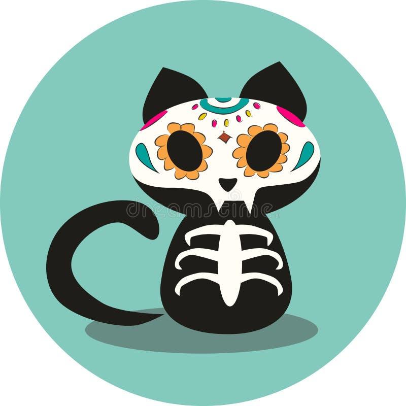 Dzień nieboszczyk, Dias De Los Muertos, Halloweenowy śliczny czarnego kota kościec i kwiat czaszki ilustracja, royalty ilustracja