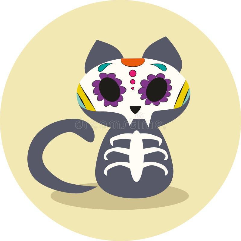 Dzień nieboszczyk, Dias De Los Muertos, Halloweenowy śliczny szary kota kościec i kwiat czaszki wektoru ilustracja, ilustracji
