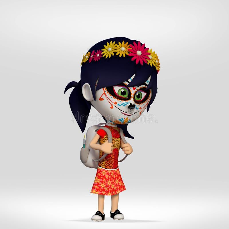Dzień nieboszczyk, dziewczyna ubierał jako Meksykańska czaszka 3d kreskówka ilustracja wektor
