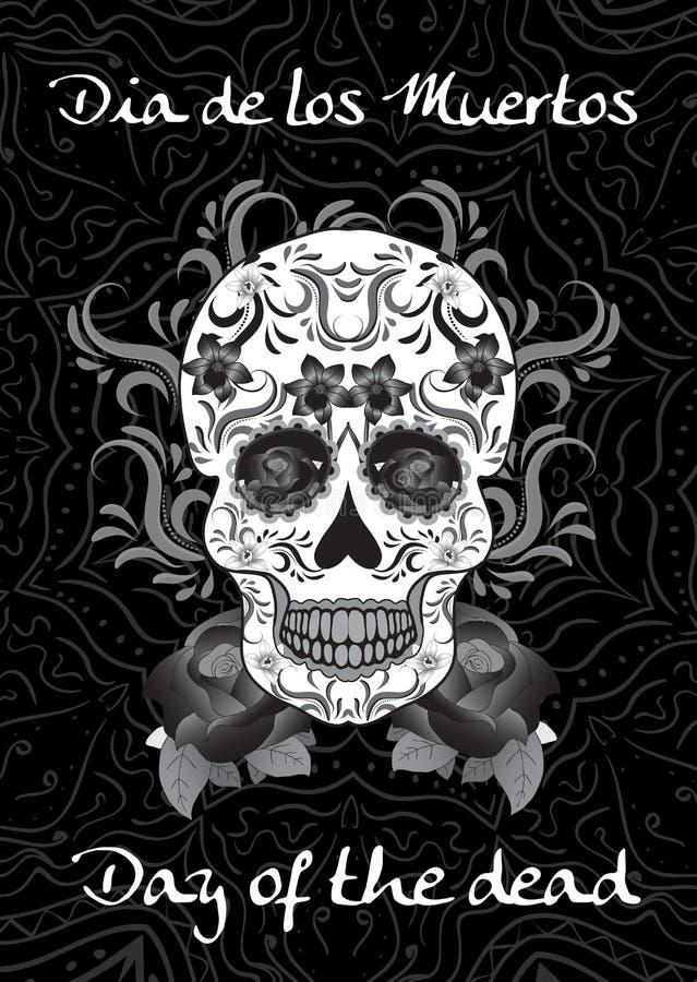 Dzień nieboszczyk, Meksykański festiwal de muertos Dia Los Kartka z pozdrowieniami, ulotka, plakatowy dzień nieboszczyk Cukrowa c royalty ilustracja