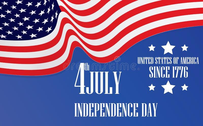 Dzień Niepodległości flaga amerykańska 4th Lipiec ilustracja wektor
