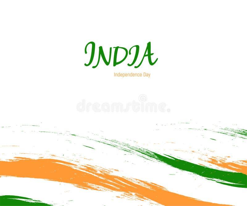 Dzień Niepodległości India akwareli znak na białym tle z flaga w krajowym kolorze Indiański obywatela trzy kolor ilustracja wektor