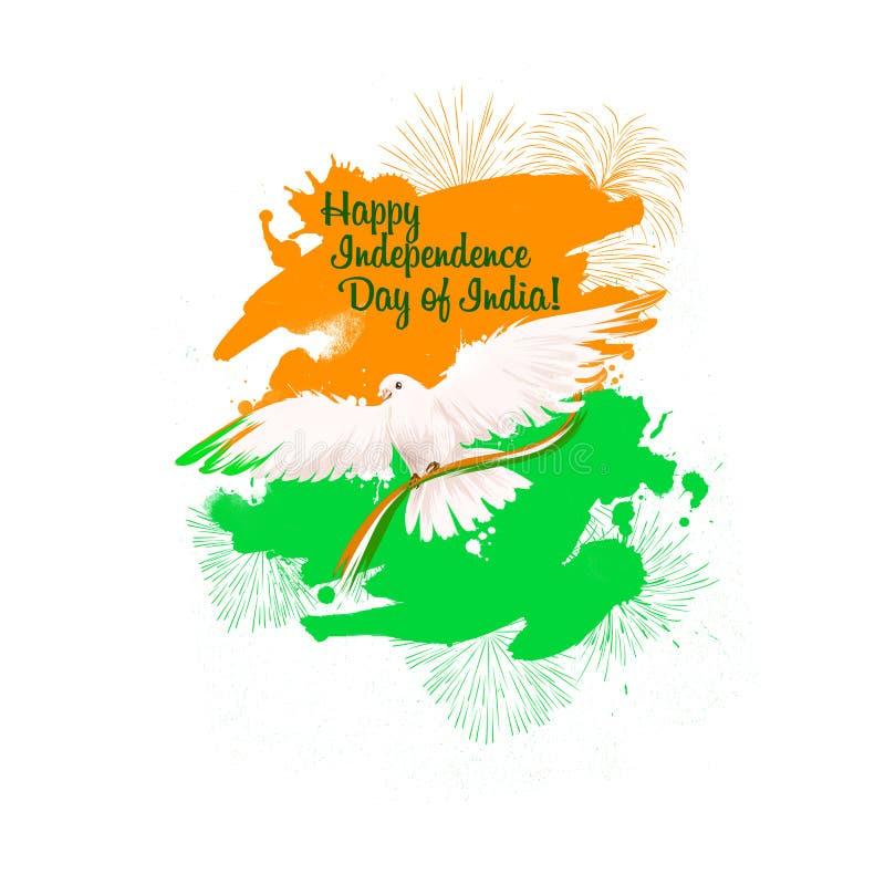 Dzień Niepodległości India sztuki cyfrowa ilustracja Krajowa indyjska wakacyjna kartka z pozdrowieniami, plakat, broszurka, ulotk ilustracji