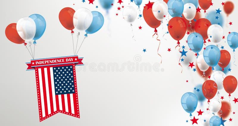 Dzień Niepodległości Lata USA balonów Chorągwianych gwiazd Okładkowego chodnikowa ilustracji