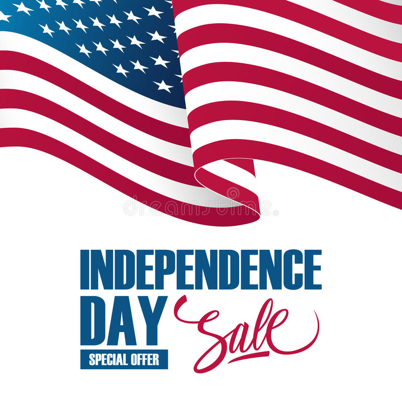 Dzień Niepodległości sprzedaży sztandar z falowanie amerykanina flaga państowowa Specjalnej oferty tło dla biznesu, promoci i rek royalty ilustracja