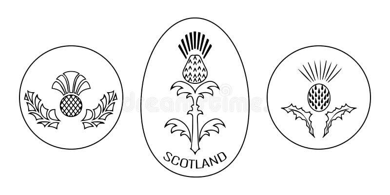 Dzień Niepodległości Szkocja 24 Czerwiec Wokoło i owalny emblemat z osetem czarny white ilustracja wektor