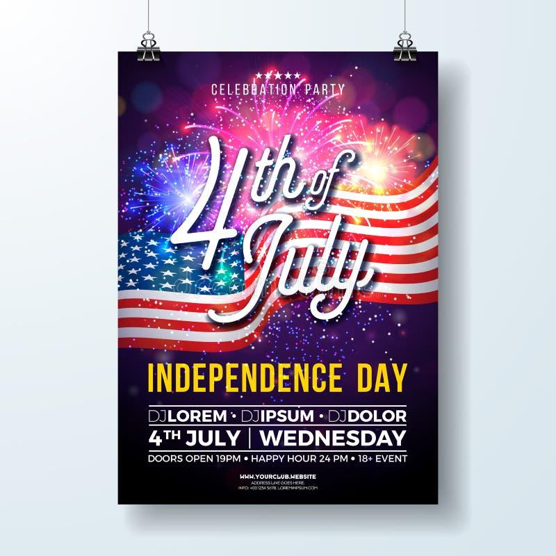 Dzień Niepodległości usa przyjęcia ulotki ilustracja z flaga i fajerwerkami Wektoru czwarty Lipa projekt na zmroku ilustracja wektor