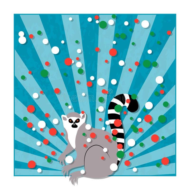 Dzień Niepodległości w Madagascar 26 Czerwiec Promienie spod spodu, lemur Błękitny tło, grunge tekstura Okręgi chorągwiani kolory ilustracji