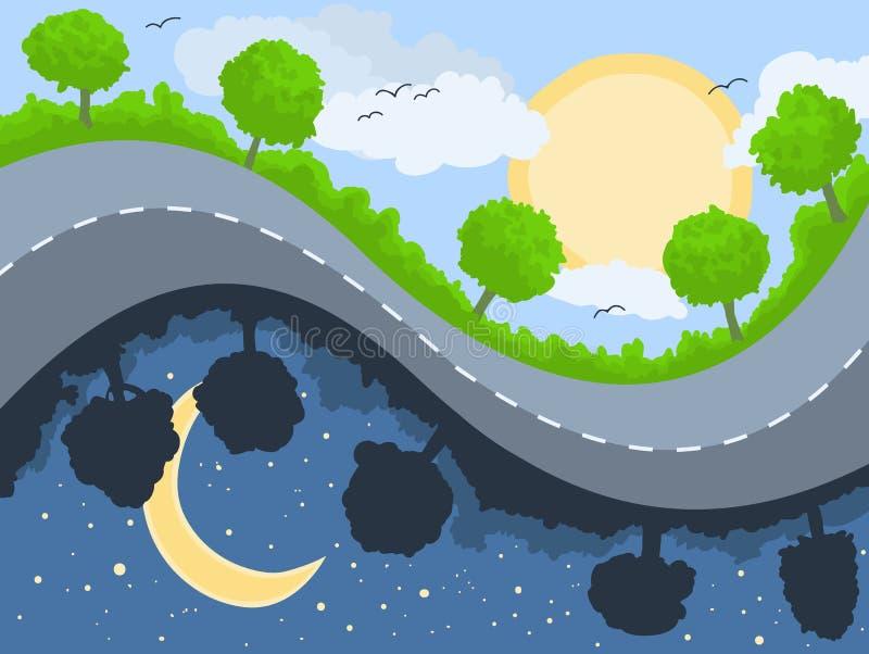 dzień noc ilustracji